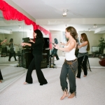 Trying out some dance steps in Armineh's studio.